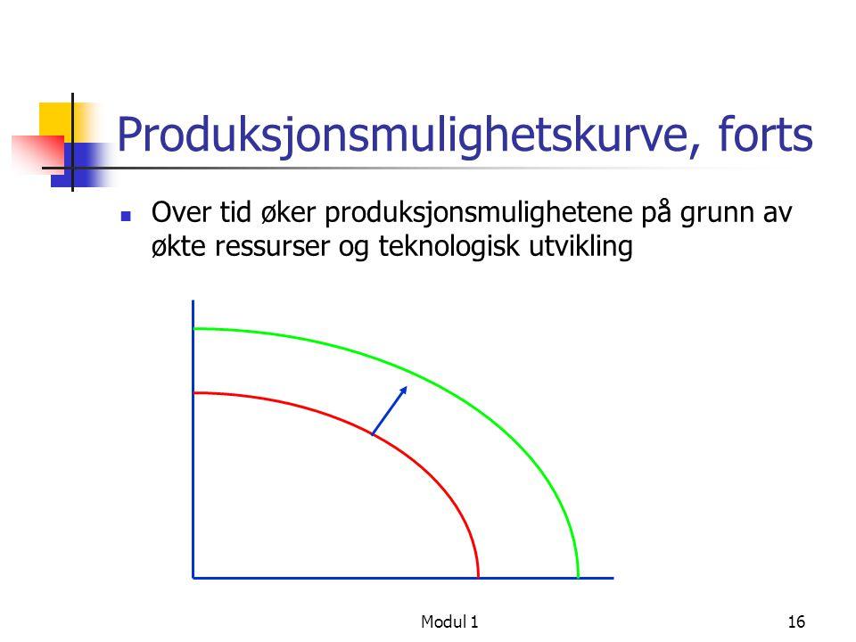 Produksjonsmulighetskurve, forts