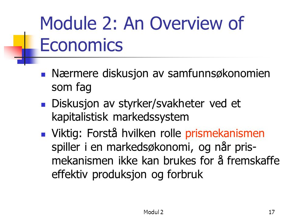 Module 2: An Overview of Economics
