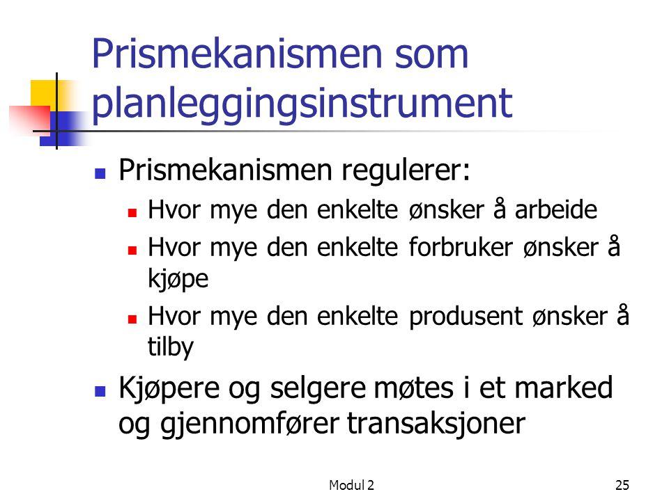 Prismekanismen som planleggingsinstrument
