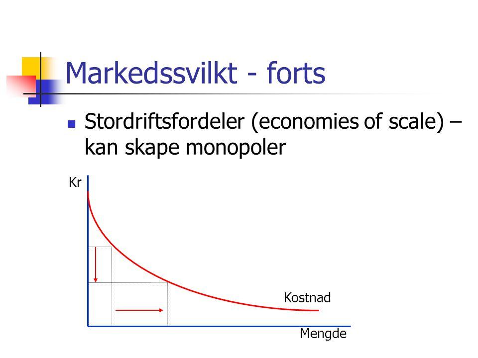 Markedssvilkt - forts Stordriftsfordeler (economies of scale) – kan skape monopoler. Kr. Kostnad.