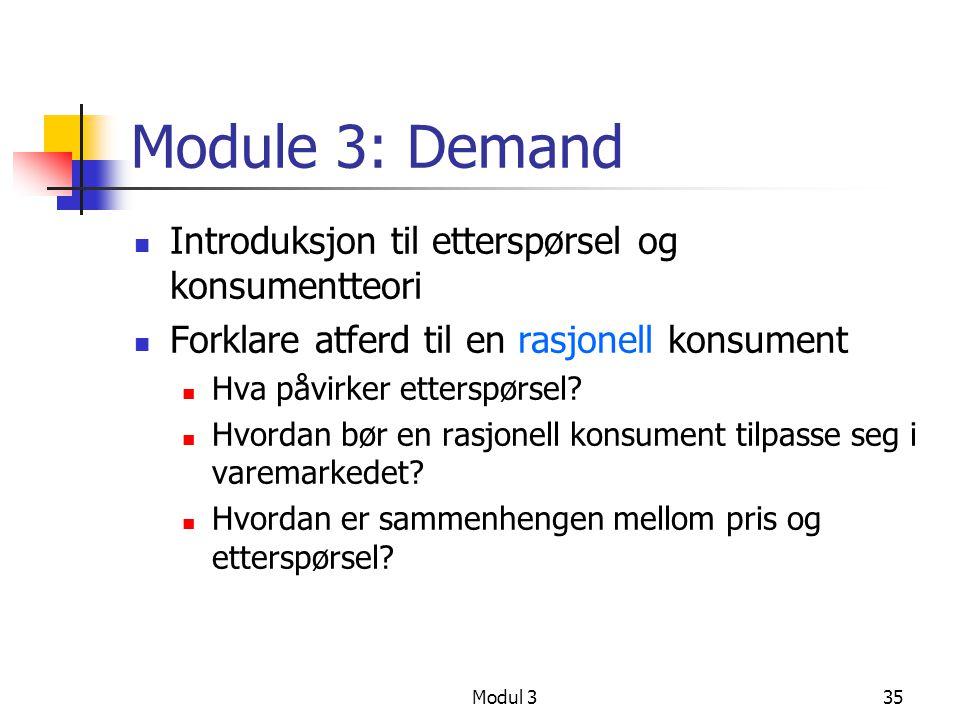 Module 3: Demand Introduksjon til etterspørsel og konsumentteori