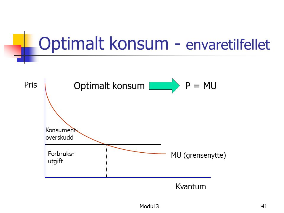 Optimalt konsum - envaretilfellet