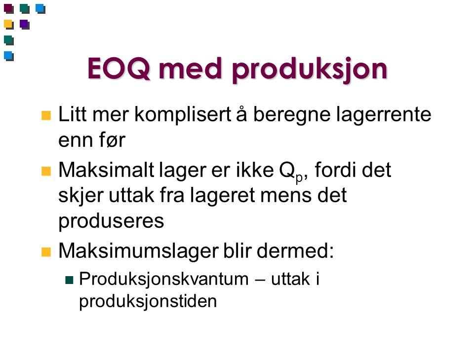 EOQ med produksjon Litt mer komplisert å beregne lagerrente enn før
