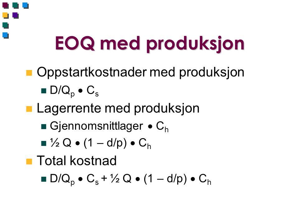 EOQ med produksjon Oppstartkostnader med produksjon