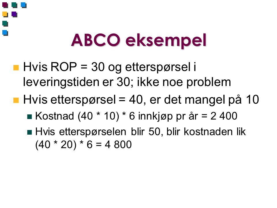 ABCO eksempel Hvis ROP = 30 og etterspørsel i leveringstiden er 30; ikke noe problem. Hvis etterspørsel = 40, er det mangel på 10.