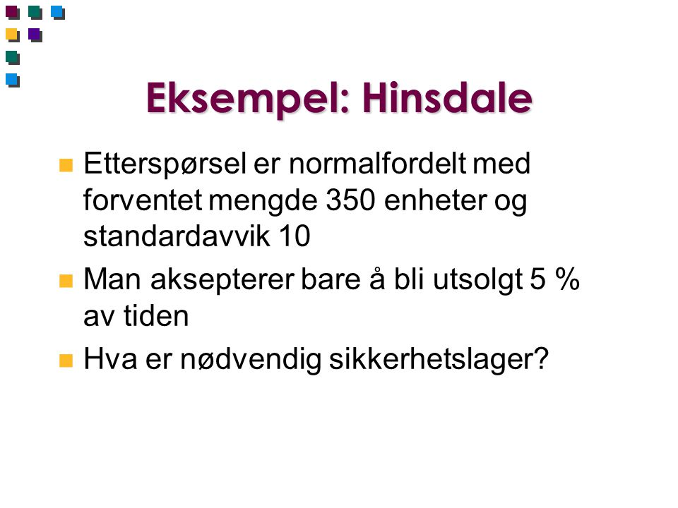 Eksempel: Hinsdale Etterspørsel er normalfordelt med forventet mengde 350 enheter og standardavvik 10.