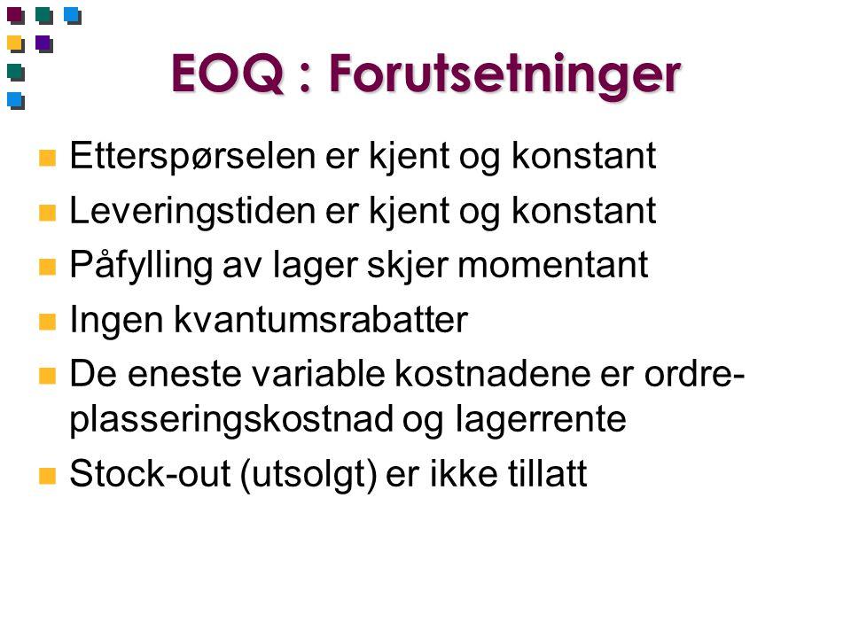 EOQ : Forutsetninger Etterspørselen er kjent og konstant