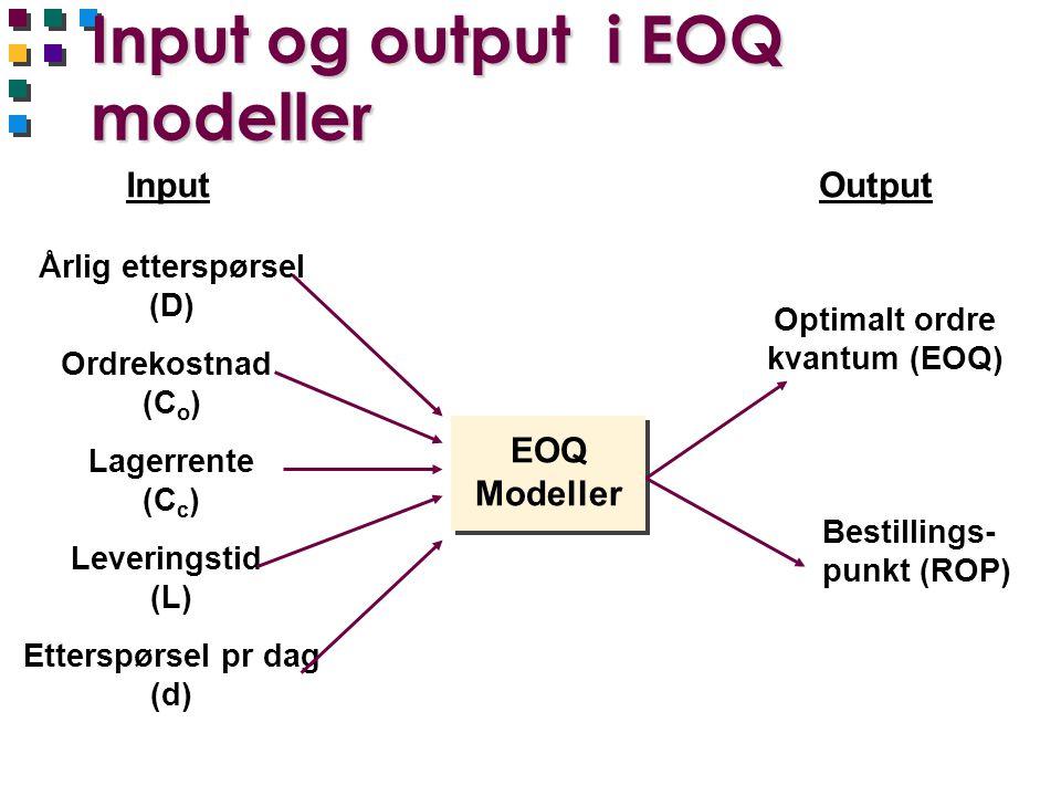Input og output i EOQ modeller