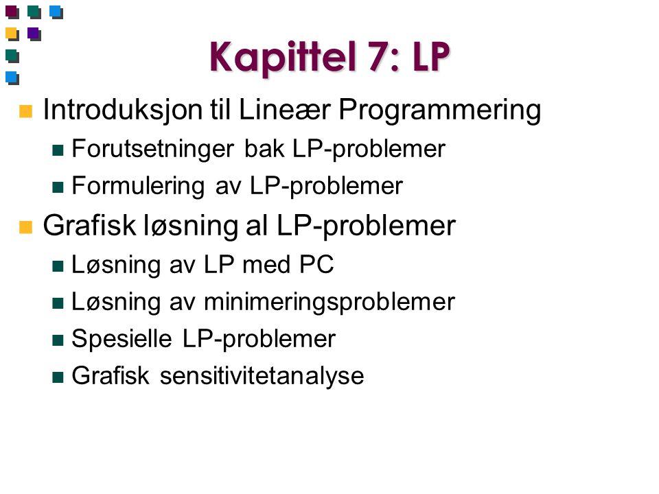Kapittel 7: LP Introduksjon til Lineær Programmering