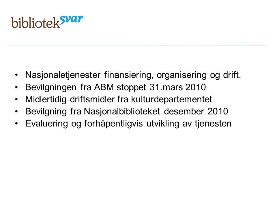 Nasjonaletjenester finansiering, organisering og drift.