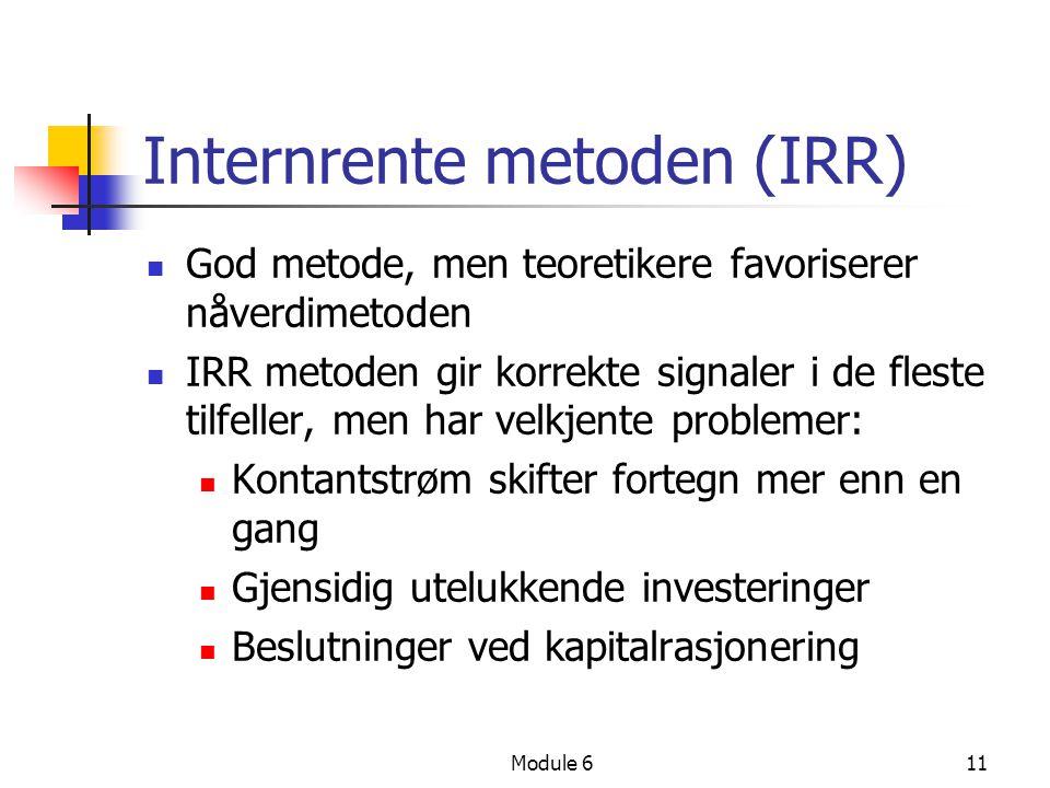 Internrente metoden (IRR)