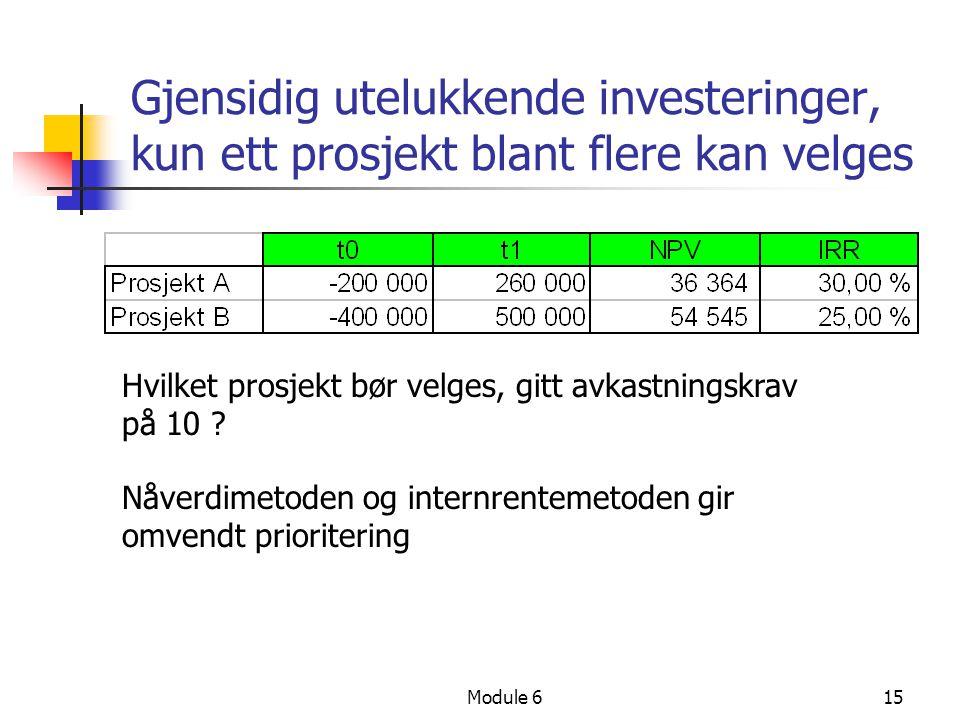 Gjensidig utelukkende investeringer, kun ett prosjekt blant flere kan velges