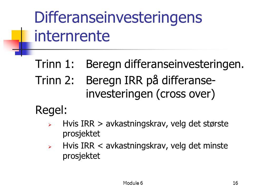 Differanseinvesteringens internrente