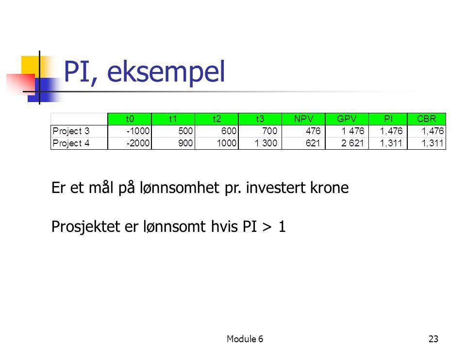 PI, eksempel Er et mål på lønnsomhet pr. investert krone