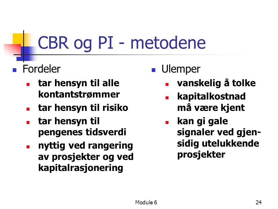 CBR og PI - metodene Fordeler Ulemper
