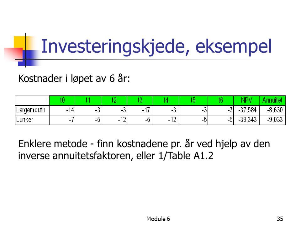 Investeringskjede, eksempel