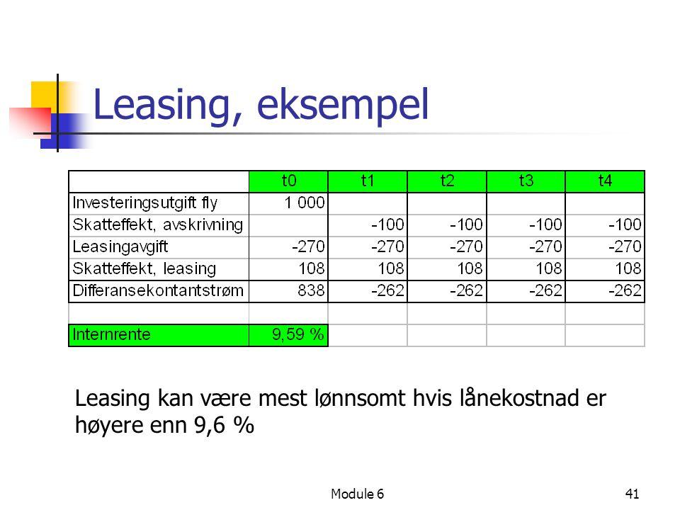 Leasing, eksempel Leasing kan være mest lønnsomt hvis lånekostnad er høyere enn 9,6 % Module 6