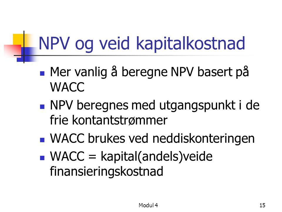 NPV og veid kapitalkostnad
