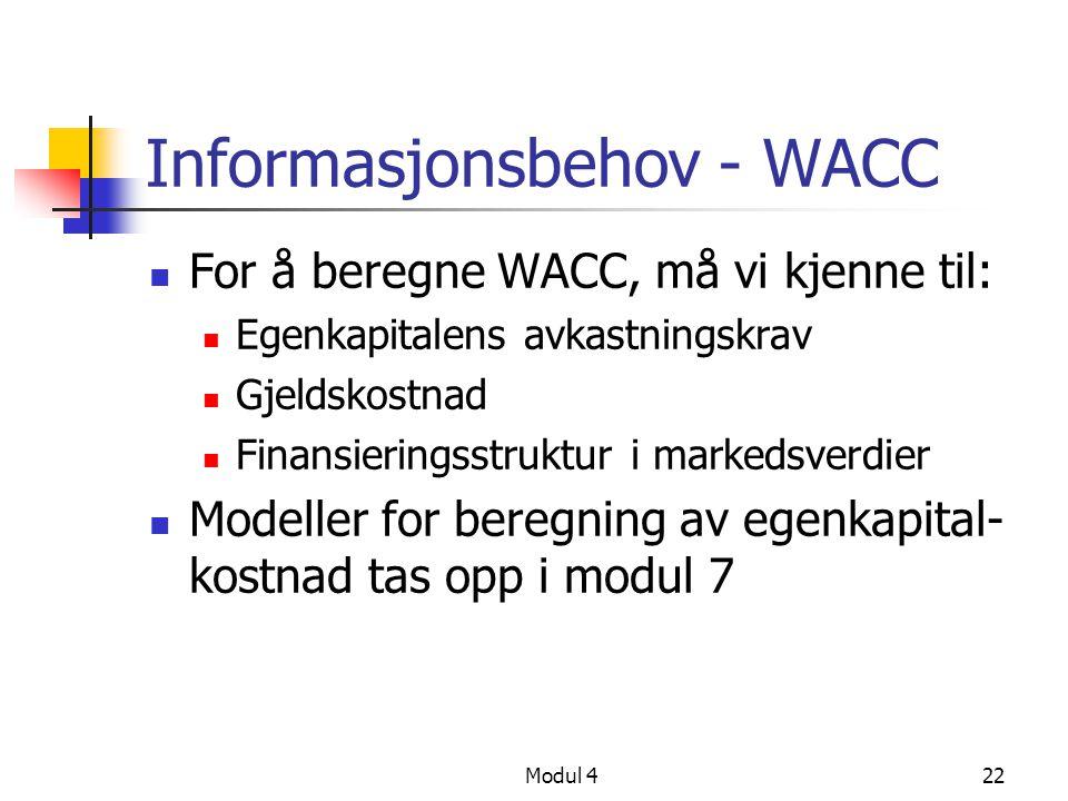 Informasjonsbehov - WACC