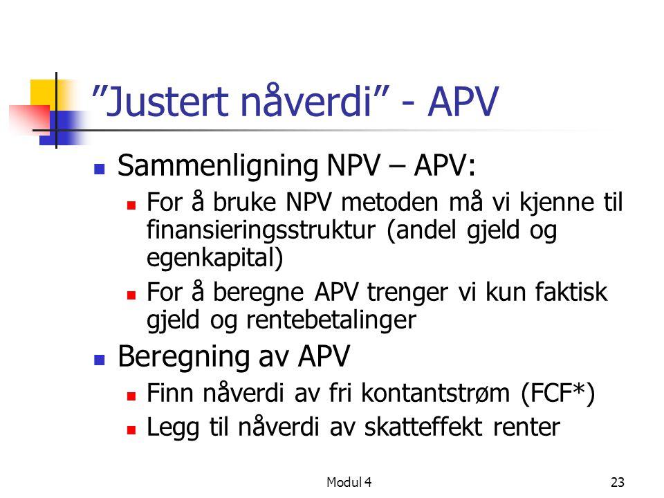 Justert nåverdi - APV