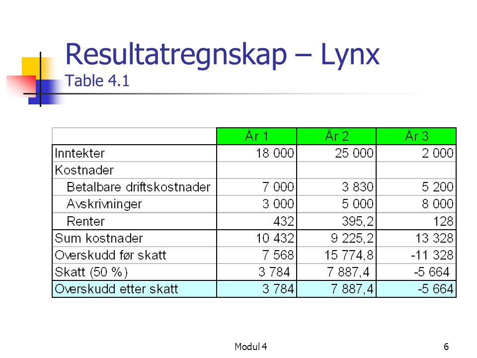 Resultatregnskap – Lynx Table 4.1