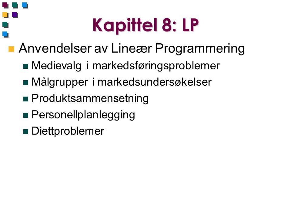 Kapittel 8: LP Anvendelser av Lineær Programmering