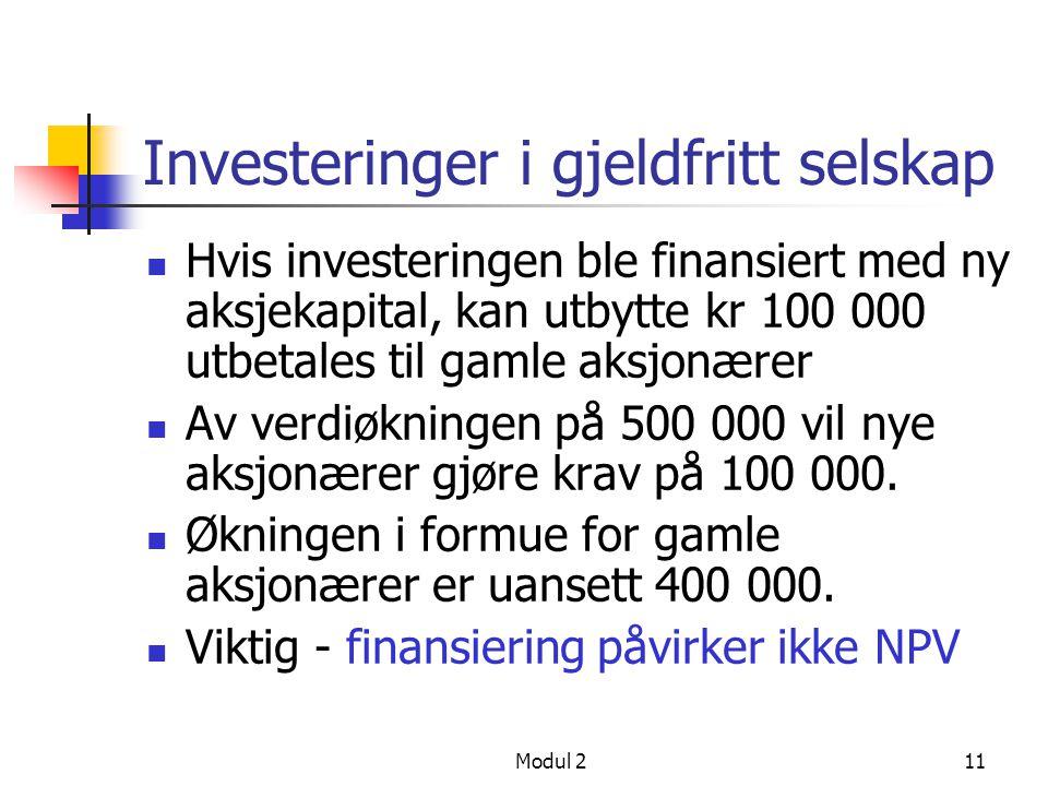 Investeringer i gjeldfritt selskap