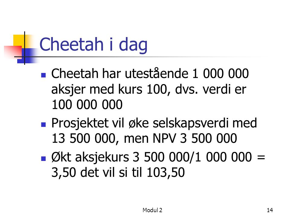 Cheetah i dag Cheetah har utestående 1 000 000 aksjer med kurs 100, dvs. verdi er 100 000 000.