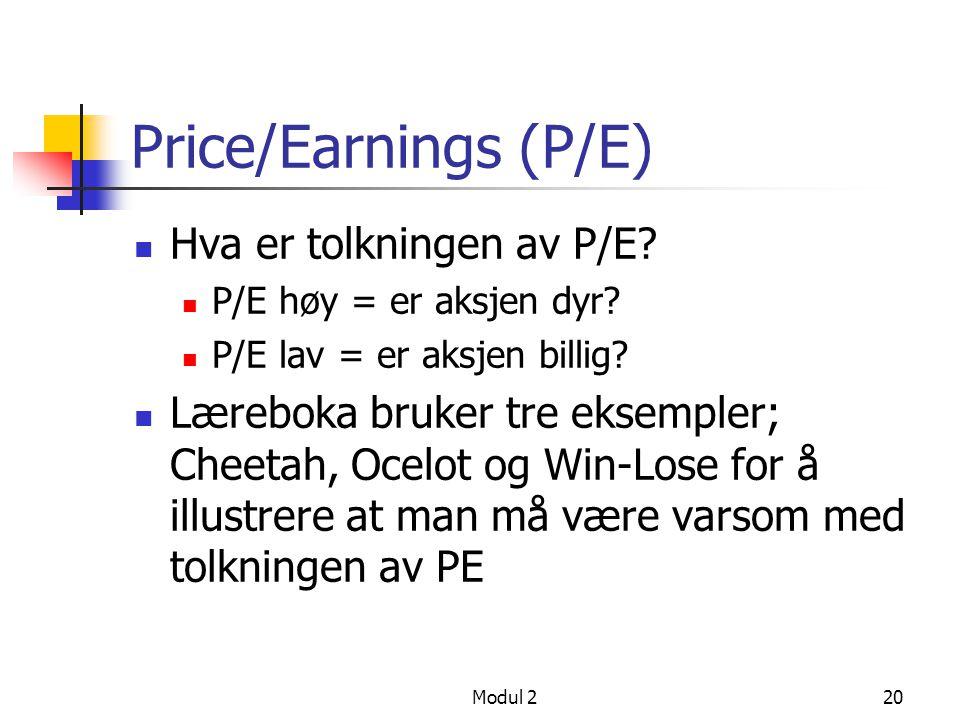 Price/Earnings (P/E) Hva er tolkningen av P/E
