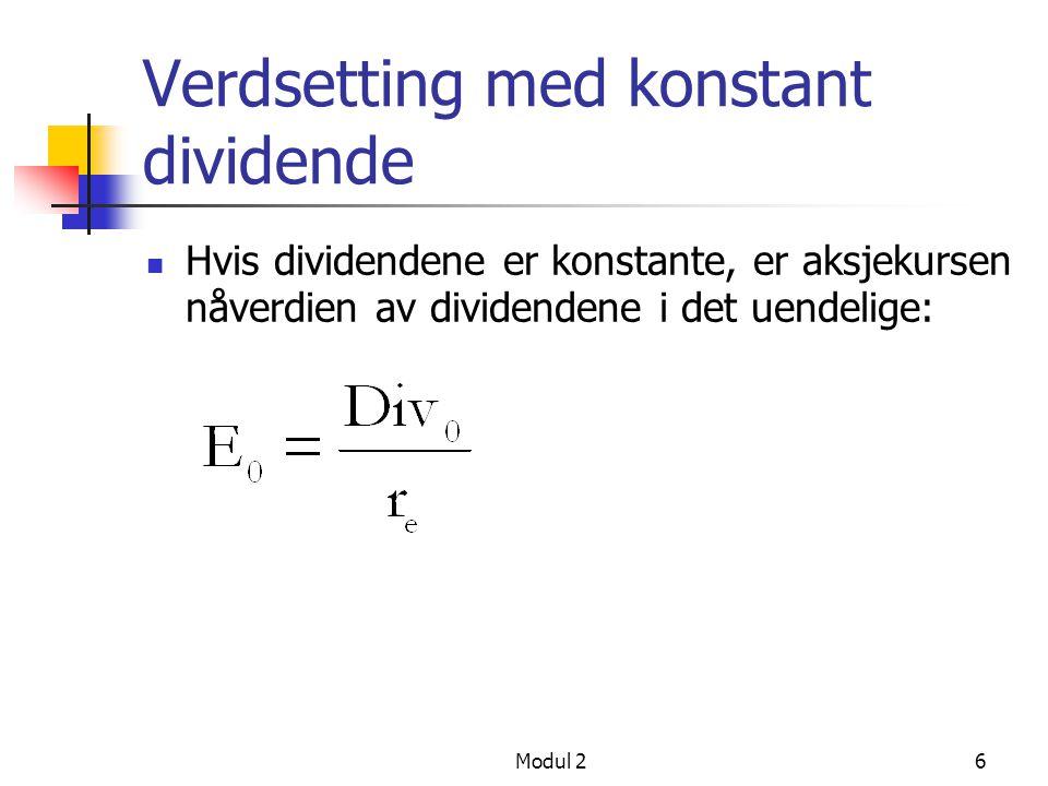 Verdsetting med konstant dividende
