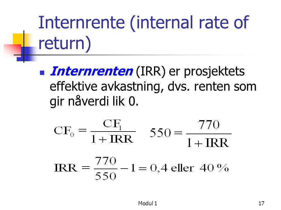 Internrente (internal rate of return)