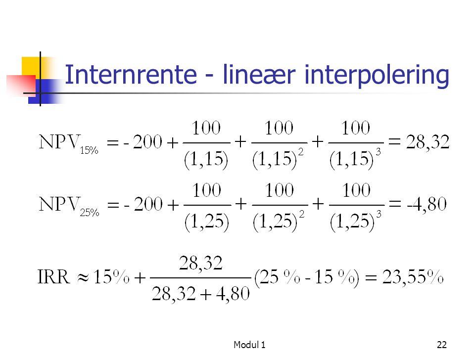Internrente - lineær interpolering