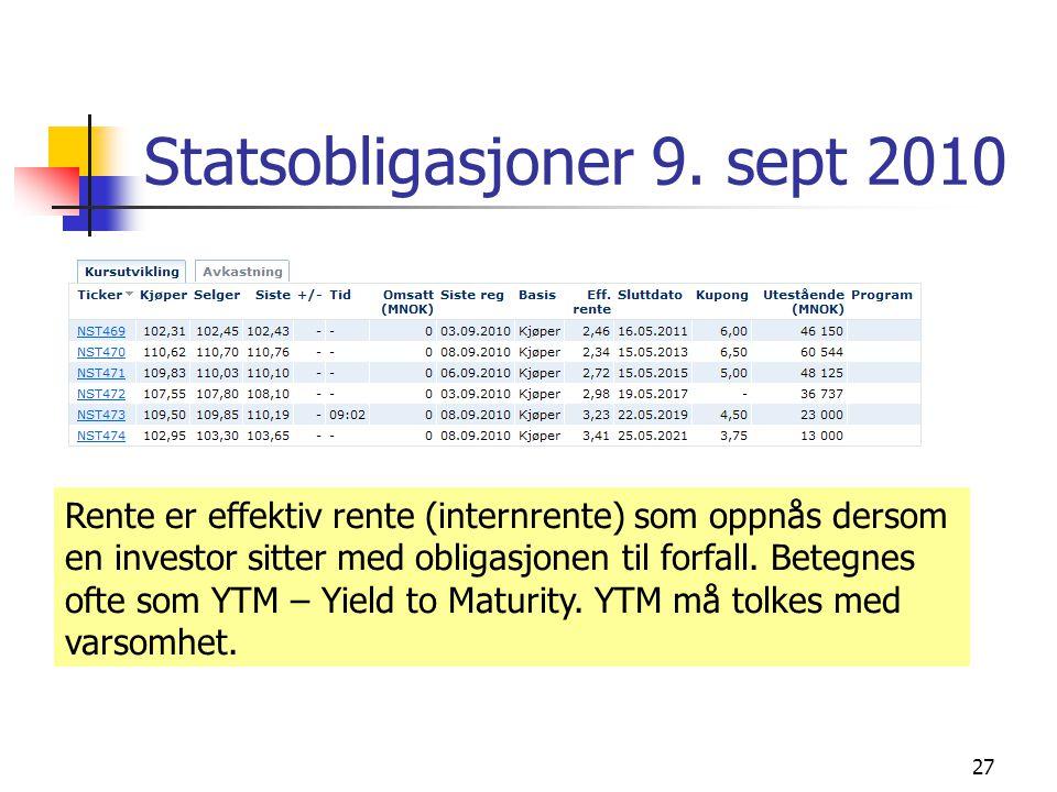 Statsobligasjoner 9. sept 2010