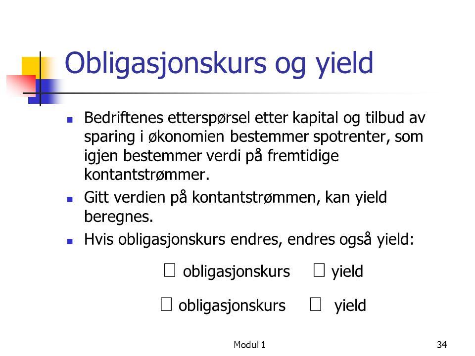 Obligasjonskurs og yield