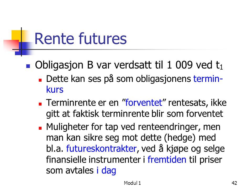 Rente futures Obligasjon B var verdsatt til 1 009 ved t1
