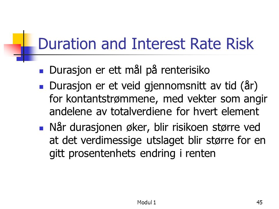 Duration and Interest Rate Risk