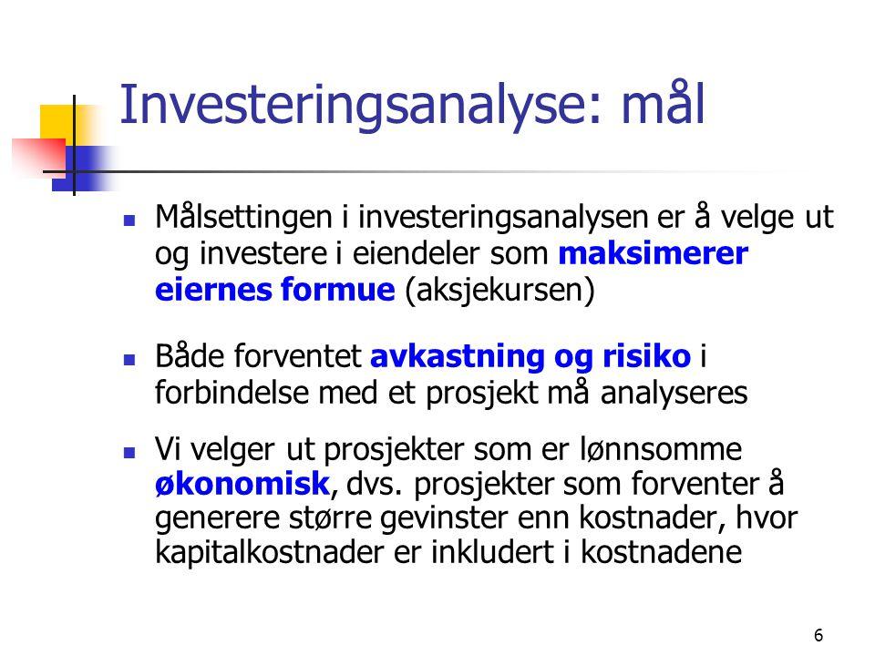 Investeringsanalyse: mål