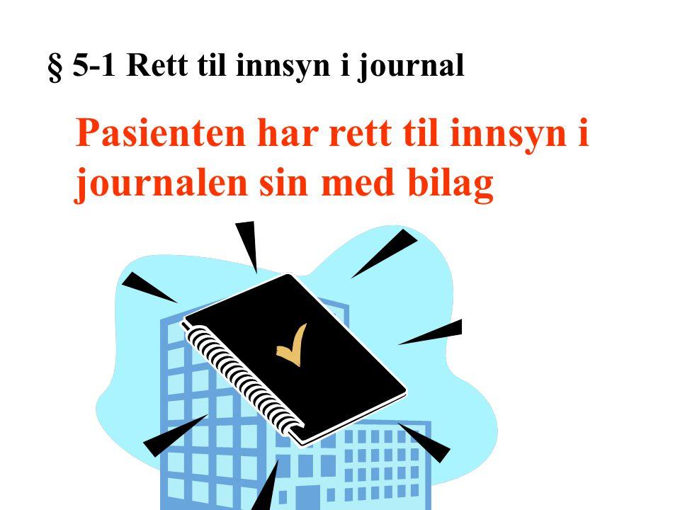 Pasienten har rett til innsyn i journalen sin med bilag