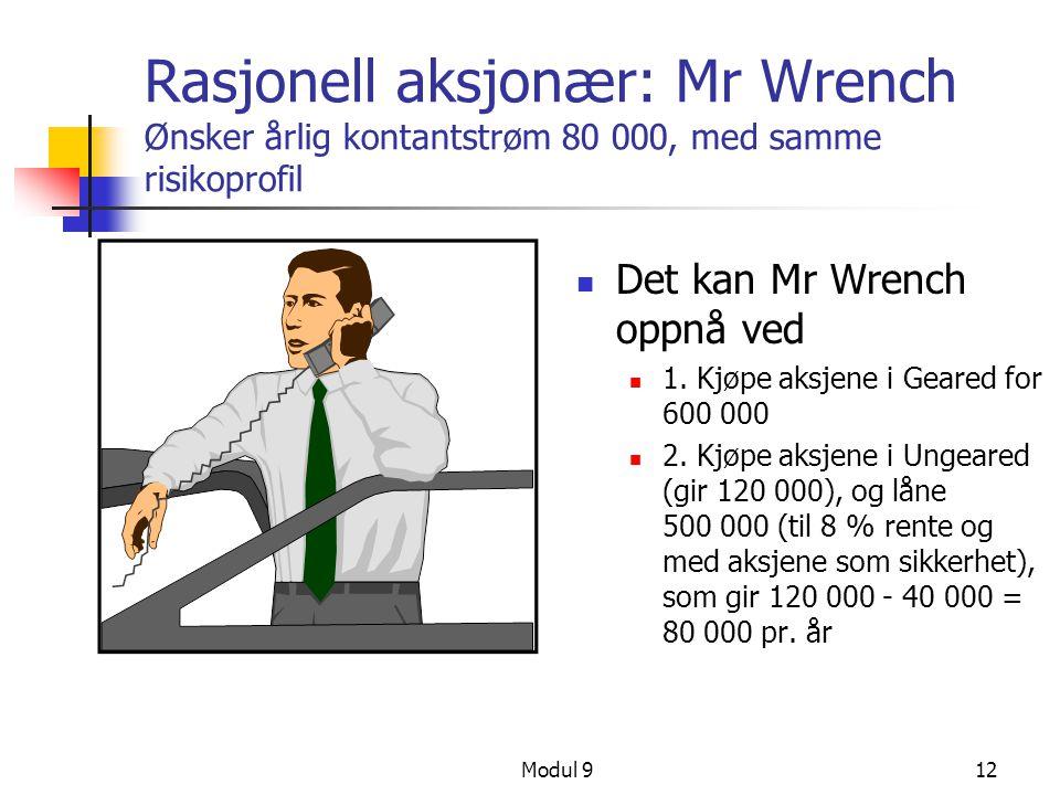 Rasjonell aksjonær: Mr Wrench Ønsker årlig kontantstrøm 80 000, med samme risikoprofil