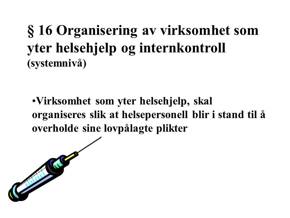 § 16 Organisering av virksomhet som yter helsehjelp og internkontroll (systemnivå)