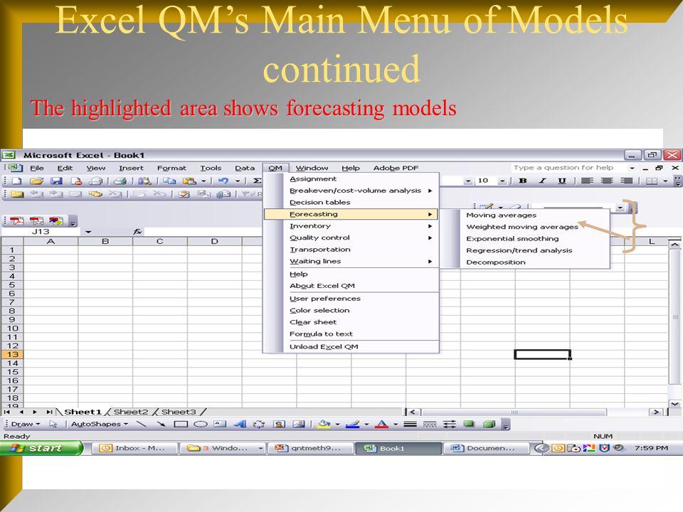 Excel QM's Main Menu of Models continued
