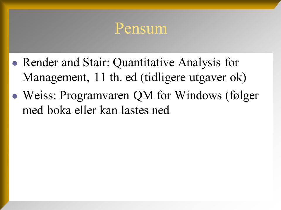 Pensum Render and Stair: Quantitative Analysis for Management, 11 th. ed (tidligere utgaver ok)