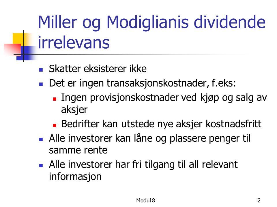 Miller og Modiglianis dividende irrelevans