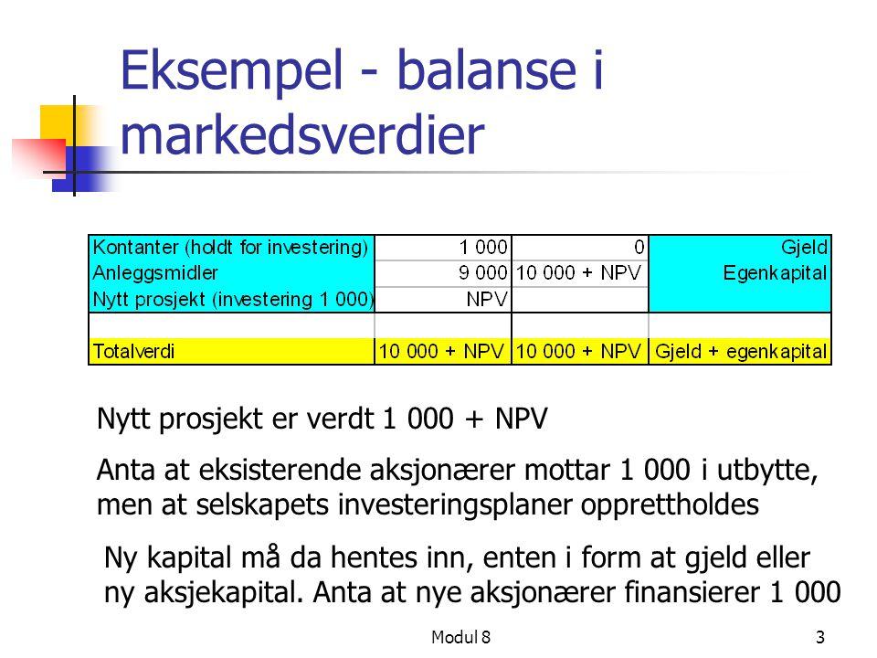 Eksempel - balanse i markedsverdier