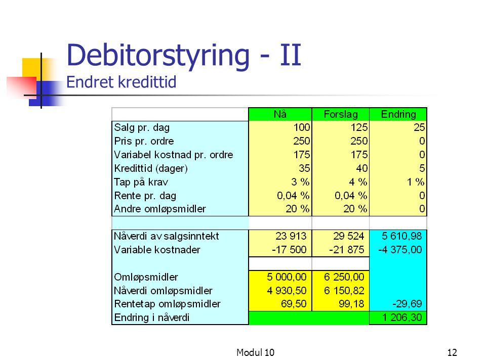 Debitorstyring - II Endret kredittid