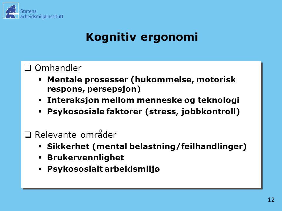 Kognitiv ergonomi Omhandler Relevante områder