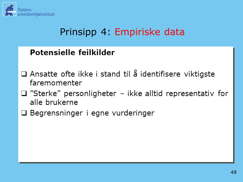 Prinsipp 4: Empiriske data