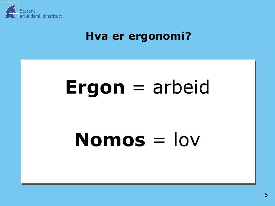 Hva er ergonomi Ergon = arbeid Nomos = lov