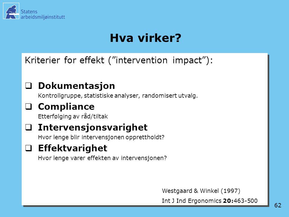 Hva virker Kriterier for effekt ( intervention impact ):
