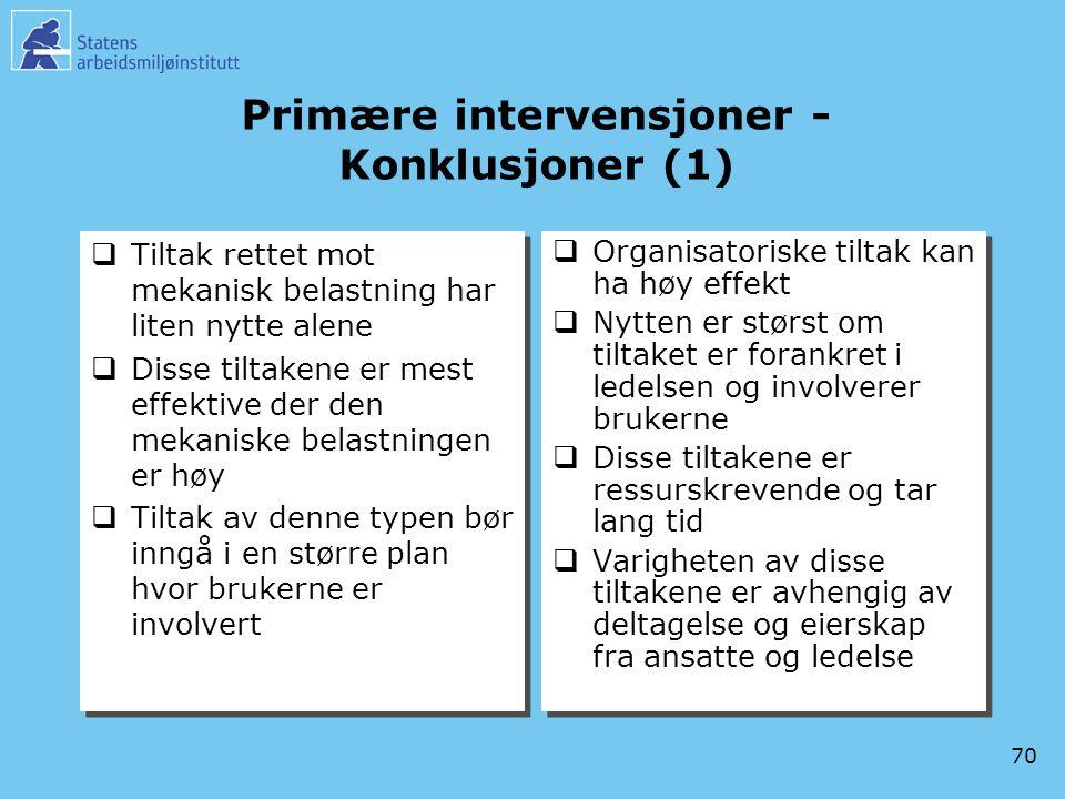 Primære intervensjoner -Konklusjoner (1)
